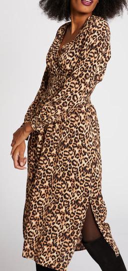 robe-midi-taille-smockee-leopard-noir-femme-or-32536300814580100